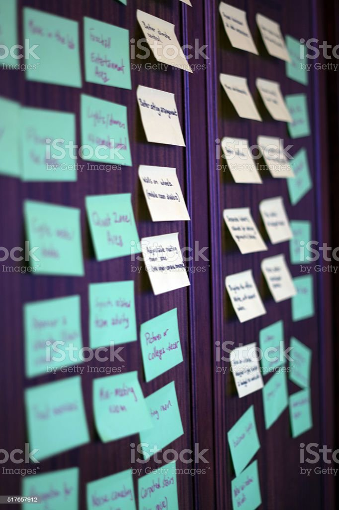 Wall of post it notes. stock photo
