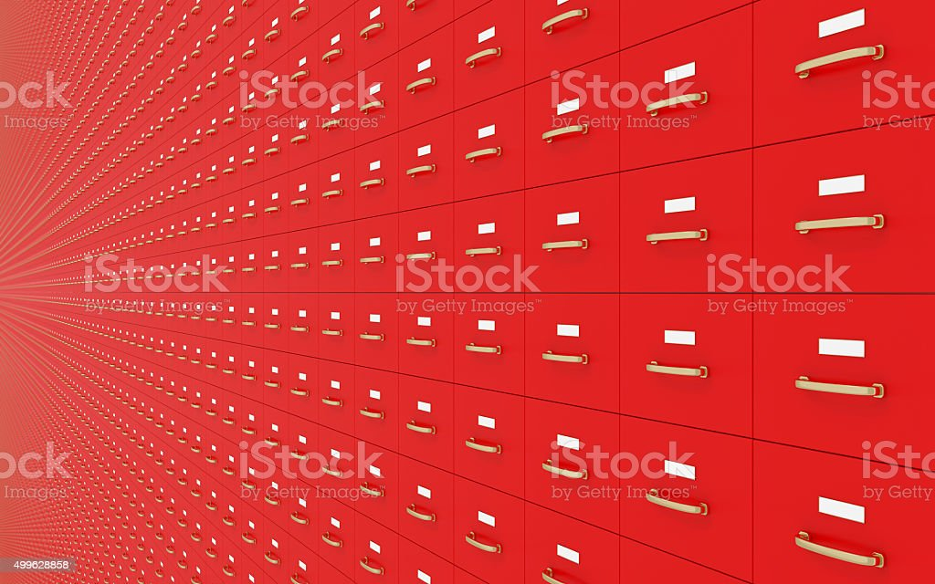 Wall of Red filing cabinets stock photo
