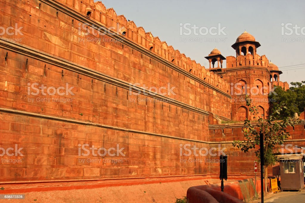 Wall of Red fort stock photo