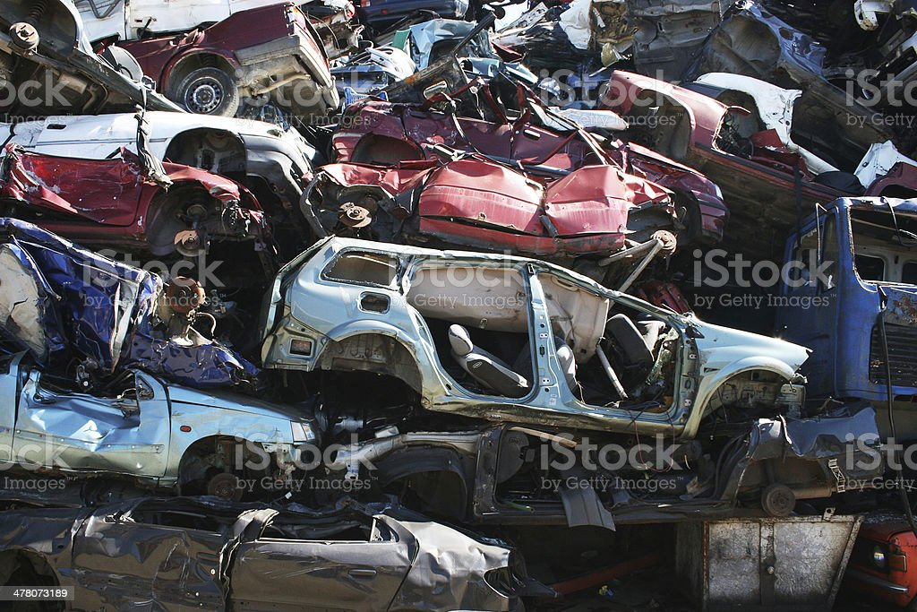 Wall of scrap cars royalty-free stock photo
