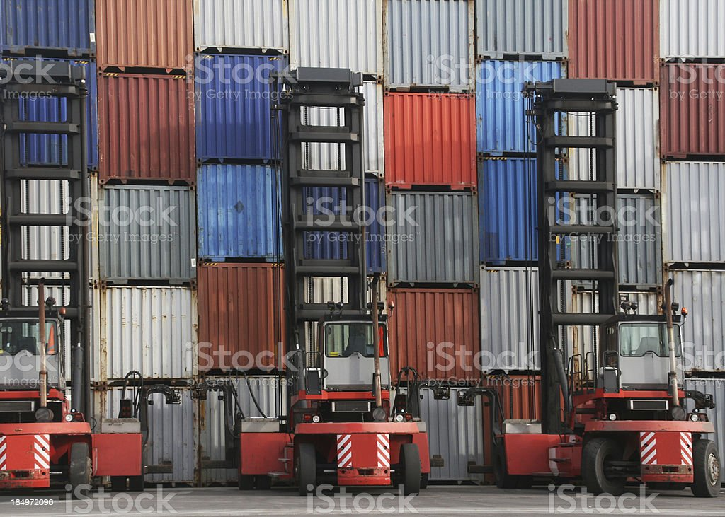 Wall of shipping containers royalty-free stock photo