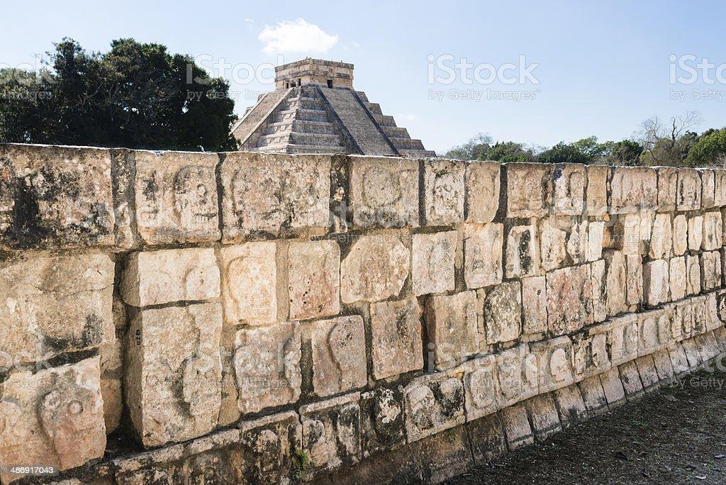 Wall of skulls at Chichen Itza, Mexico -XXXL royalty-free stock photo