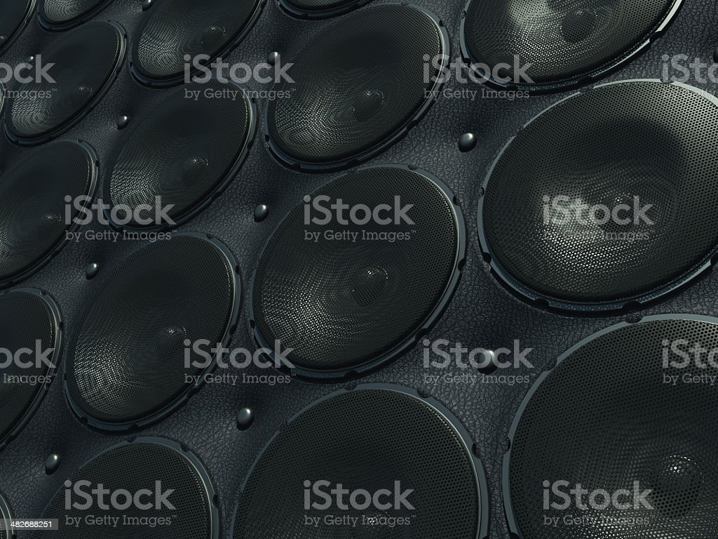 Wall of Sounds: black speakers over leather pattern stock photo