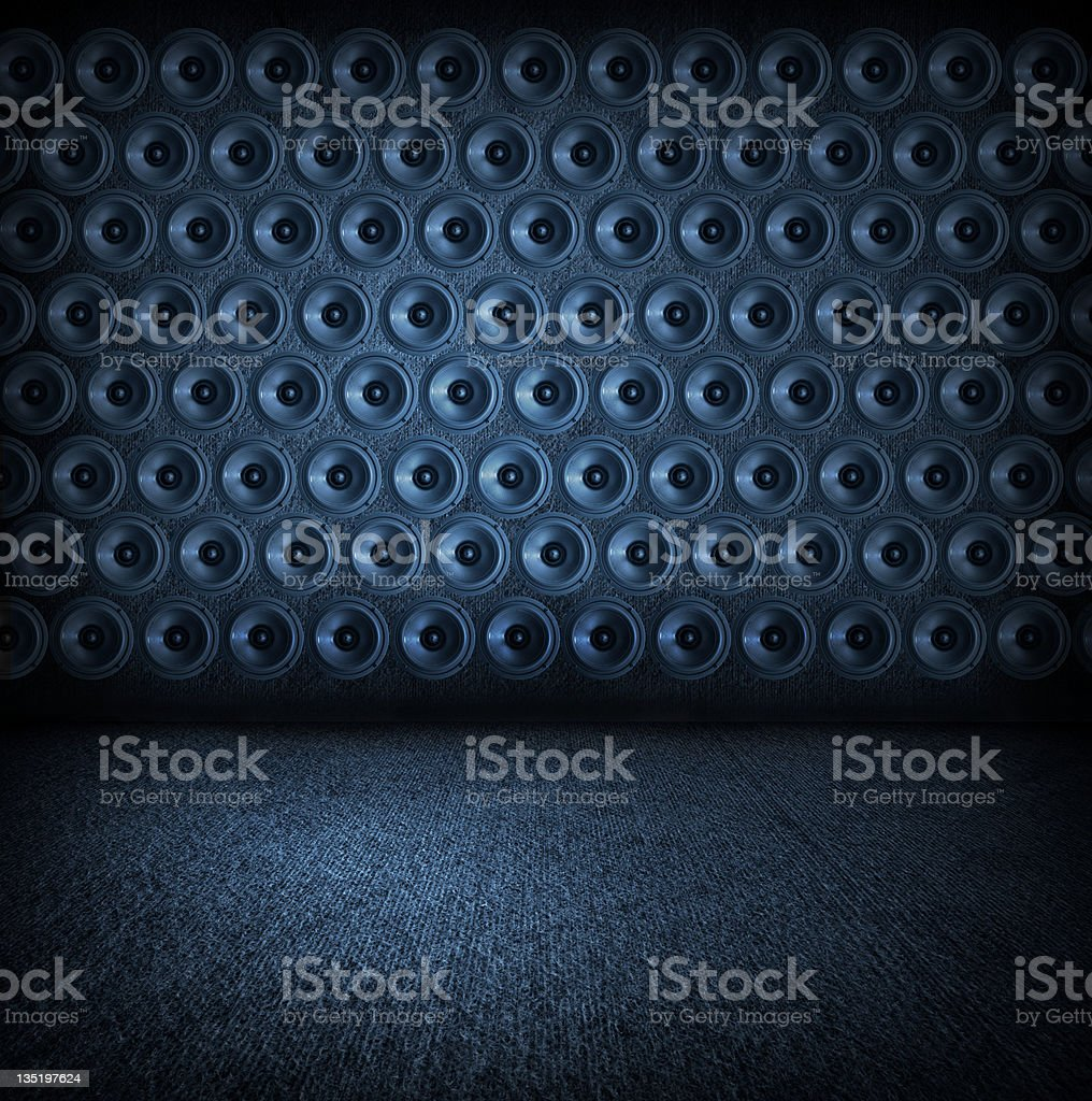 Wall of speakers collage royalty-free stock photo