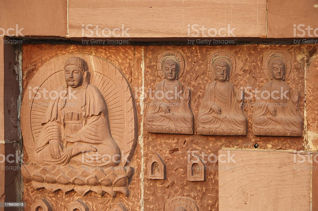 wall of the Buddha royalty-free stock photo