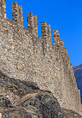 Wall of the medieval fortress Castelgrande in Bellinzona