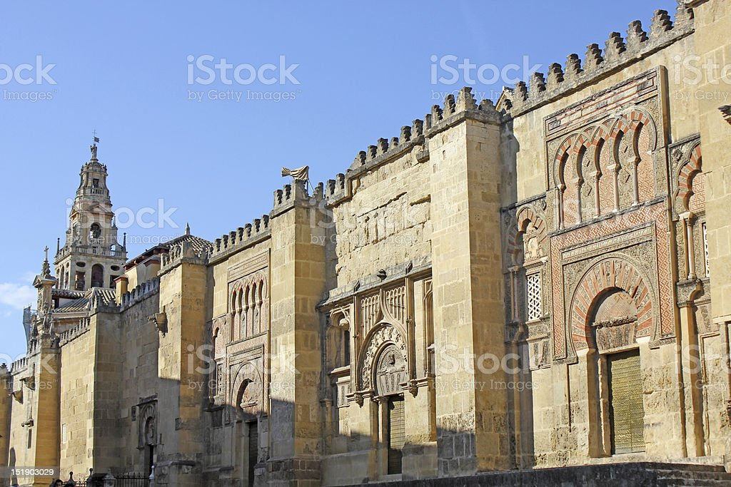 Wall of the mosque in Cordoba stock photo