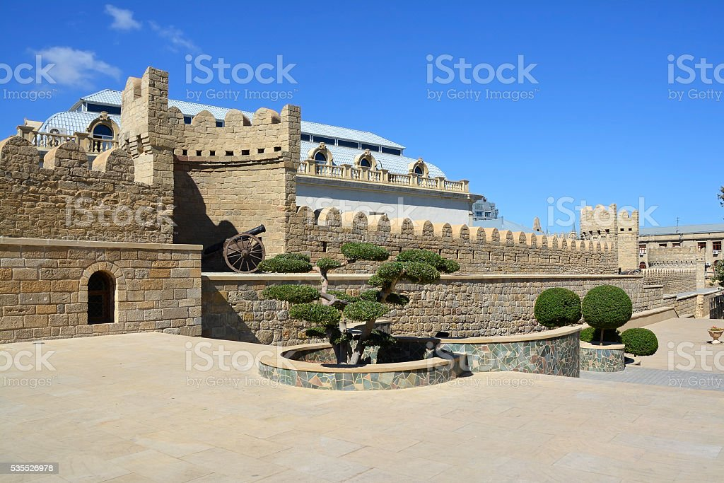 Wall of the old city of Baku stock photo