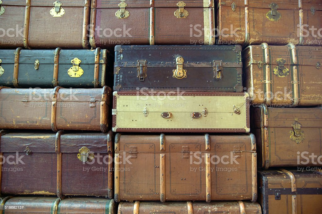 Wall of the retro suitcases stock photo