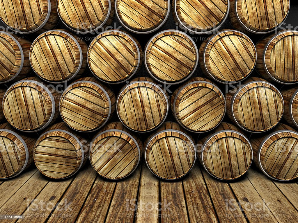 wall of wooden barrels royalty-free stock photo