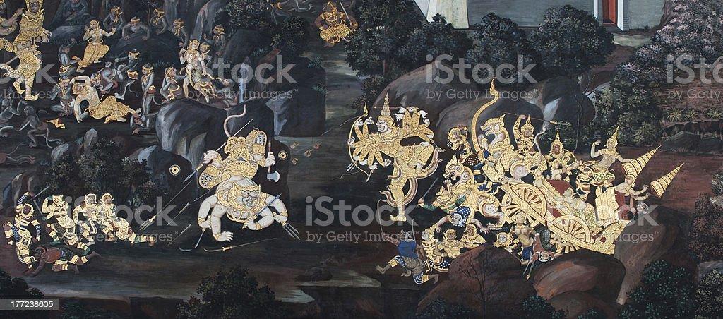 Wall Painting at Wat Phra Kaeo Bangkok, Thailand royalty-free stock photo