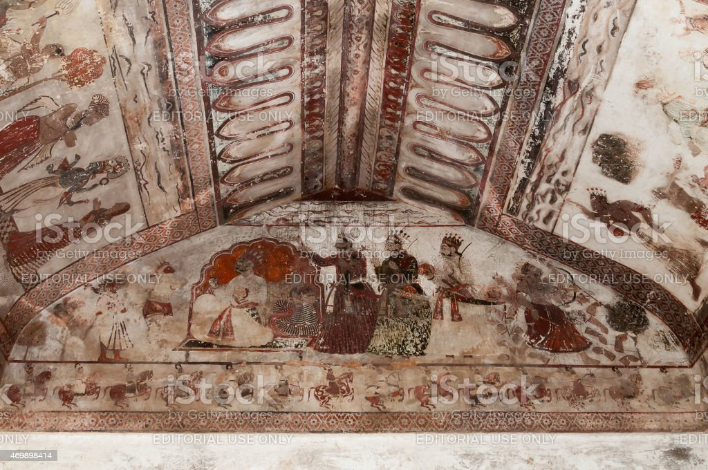 Wall painting in Raj Mahal palace in Orchha stock photo