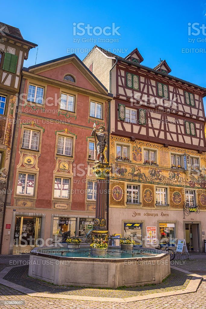 Wall painting of Stein Am Rhein, ancient city in Switzerland stock photo