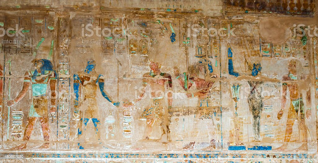 Wall Paintings in Temple of Hatshepsut in Egypt stock photo