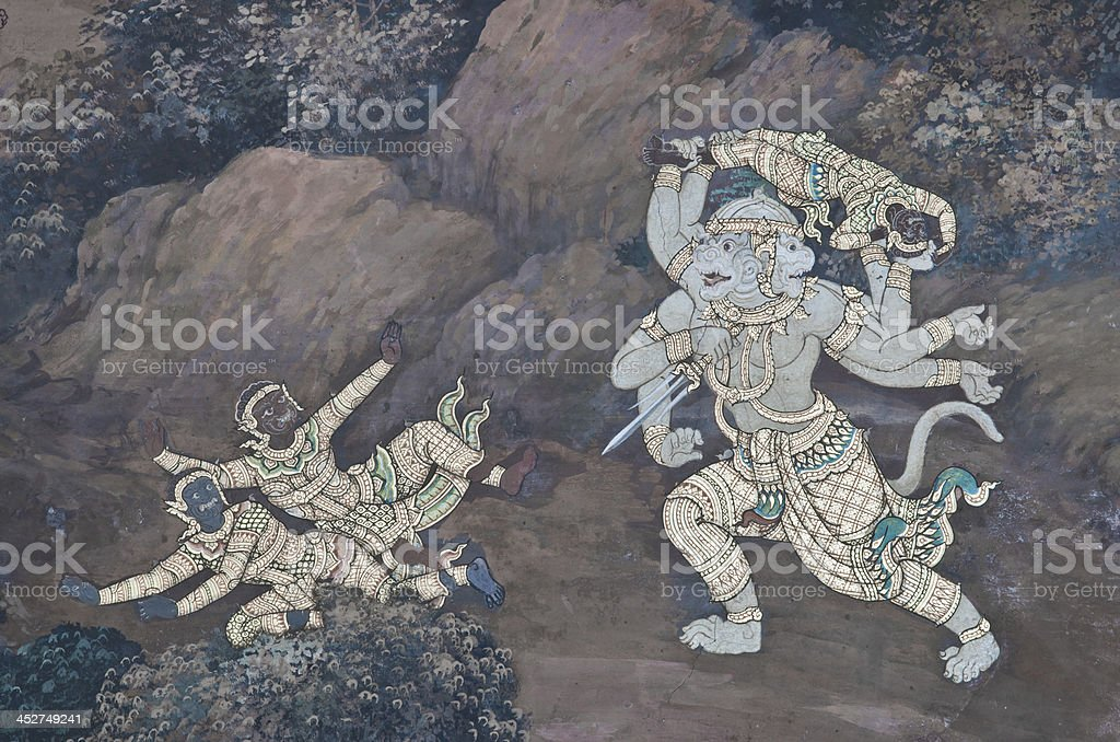 wall paintings in The Emerald Buddha temple ramayana royalty-free stock photo