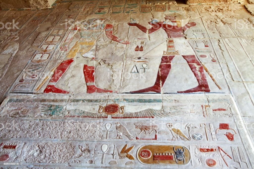 Wall Paintings inside Queen Hatshepsut Temple in Valley of the Kings near Luxor, Egypt stock photo