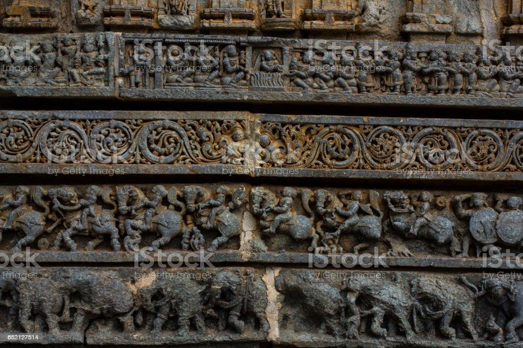 Wall panel relief and molding frieze in horizontal treatment in Chennakesava Temple, Somanathapura, Karnataka,India, Asia stock photo