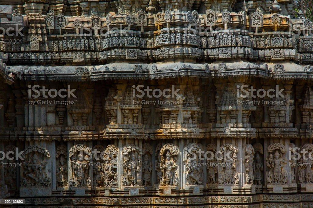 Wall panel relief and molding frieze in horizontal treatment in Chennakesava Temple, Somanathapura, Karnataka, India,Asia stock photo