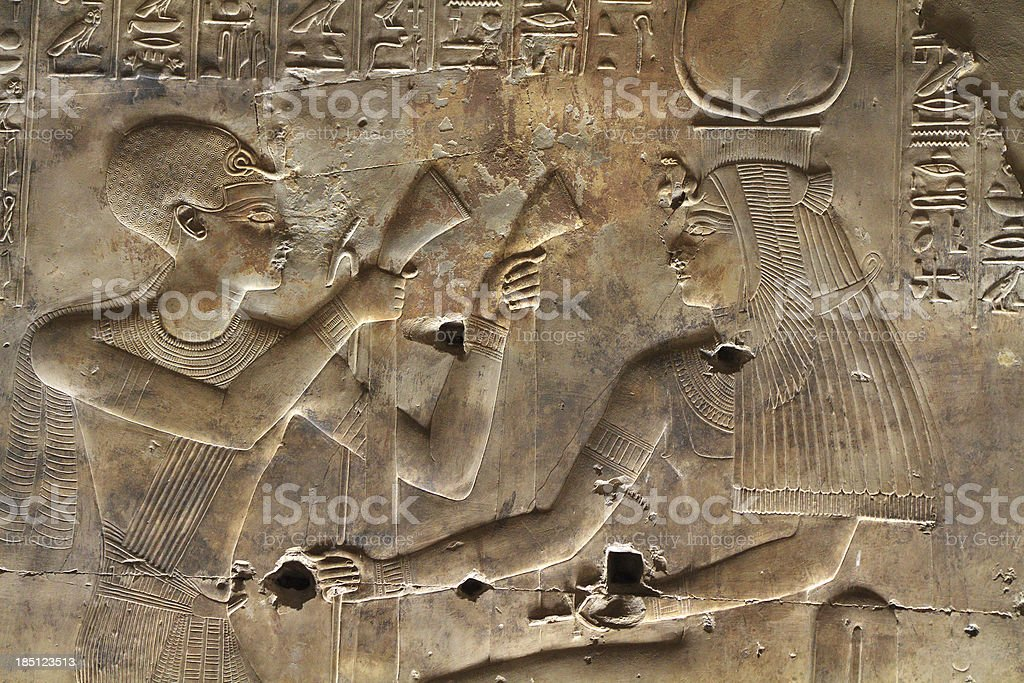 Wall Relief, Sanctuary of Isis, Seti I's Temple, Abydos, Egypt stock photo