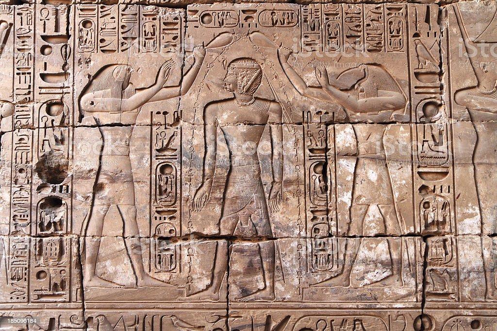 Wall Relief, Temple of Khonsu, Karnak Luxor Egypt royalty-free stock photo