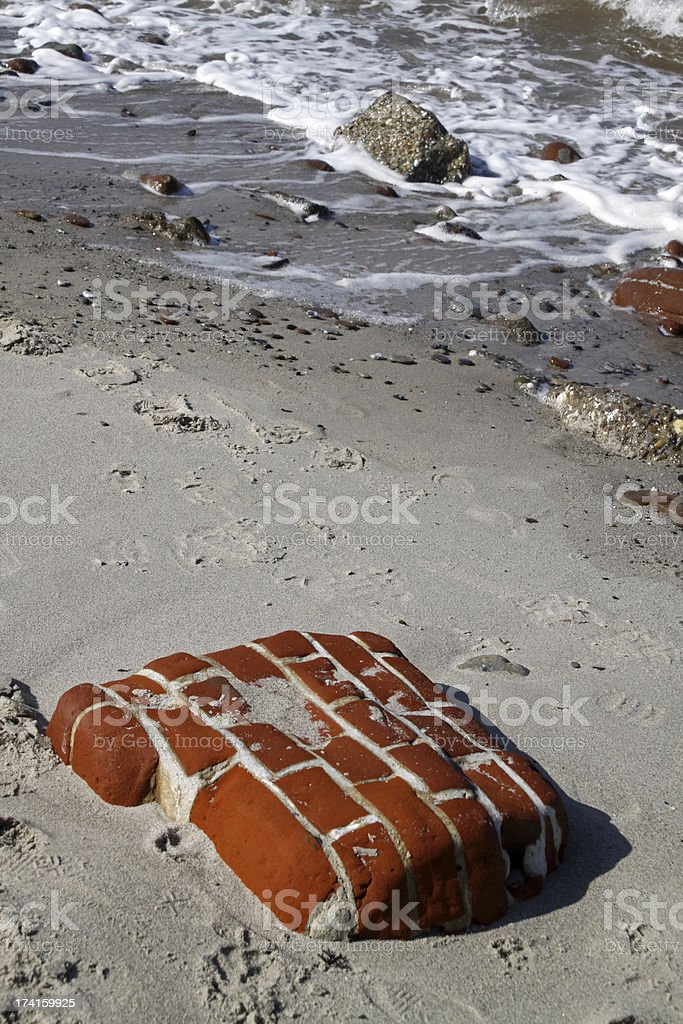 Wall section of the beach stock photo
