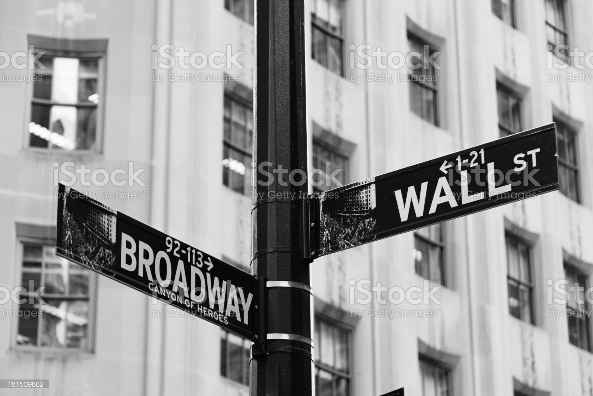 Wall Street and Broadway street sign, New York Financial Centre royalty-free stock photo