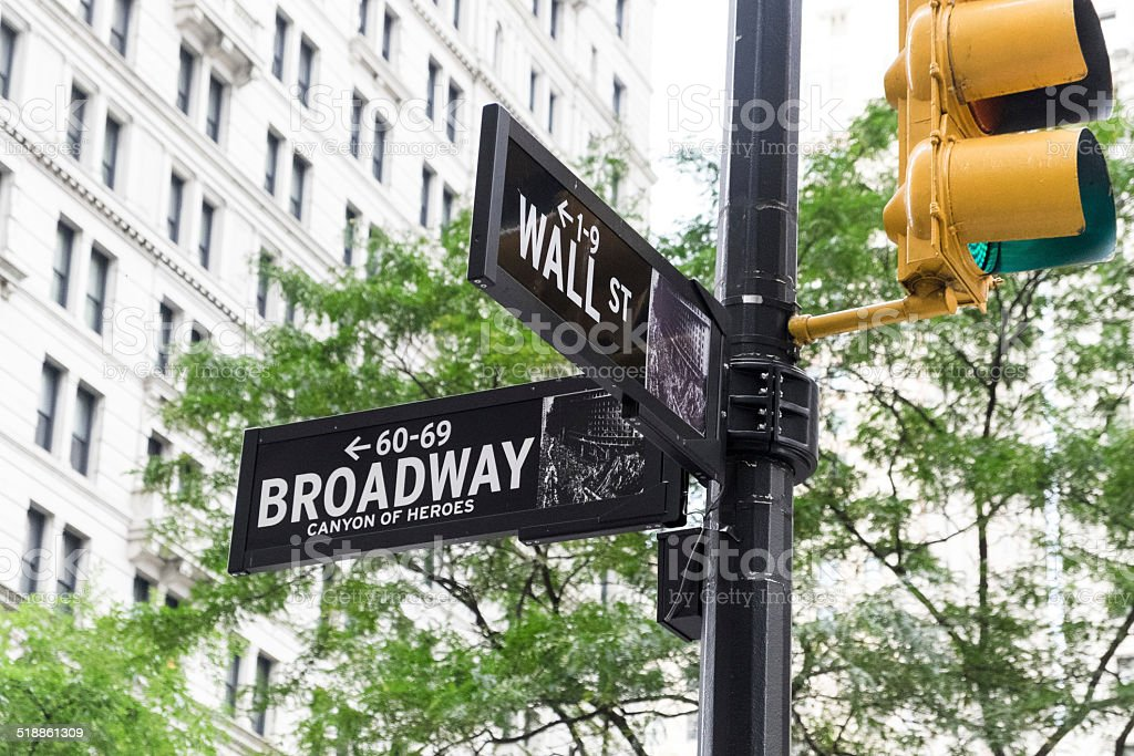 Wall Street and Broadway Street Signs stock photo