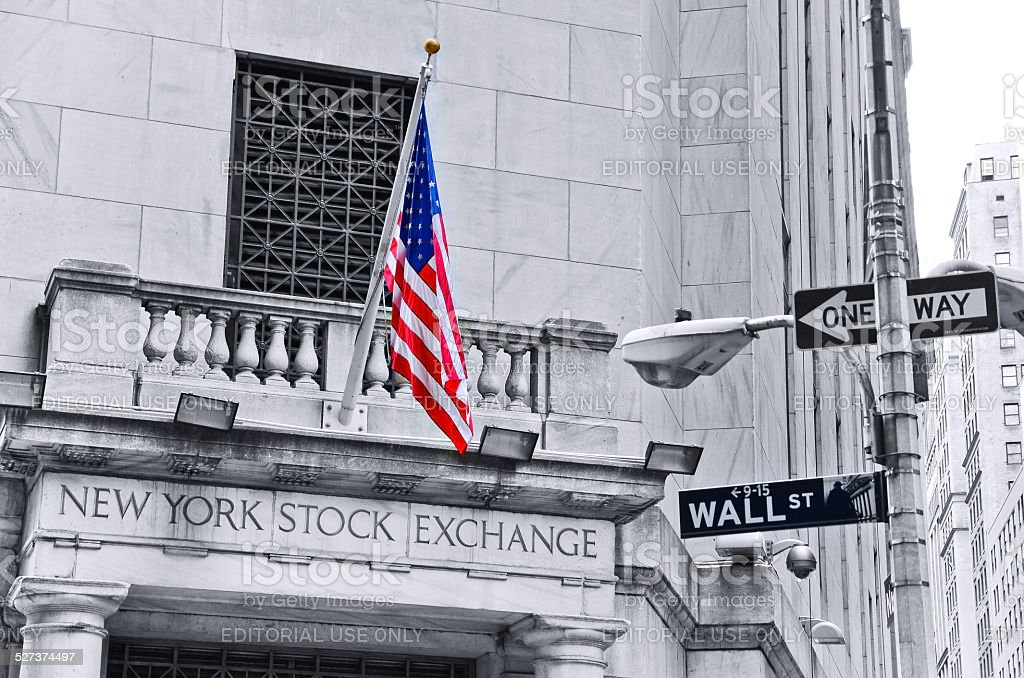 Wall Street and New York Stock Exchange stock photo