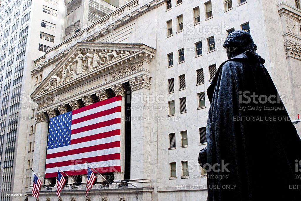 Wall Street and the New York Stock Exchange royalty-free stock photo