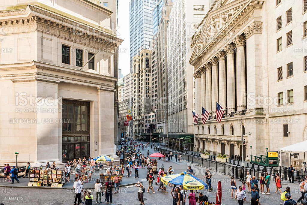 Wall street and the New York Stock exchange stock photo