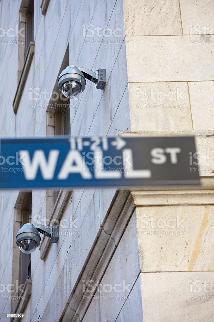 Wall Street Cameras Big Brother in New York City royalty-free stock photo