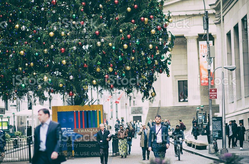 Wall Street Christmas Tree New York City stock photo