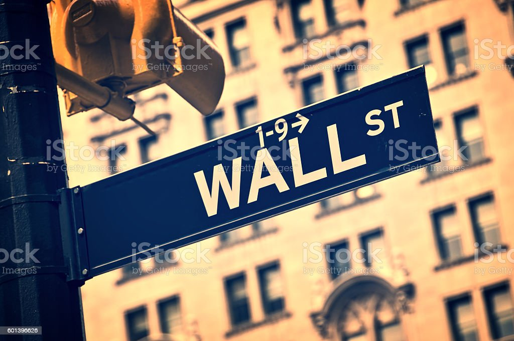 Wall street direction sign, New York vintage process stock photo