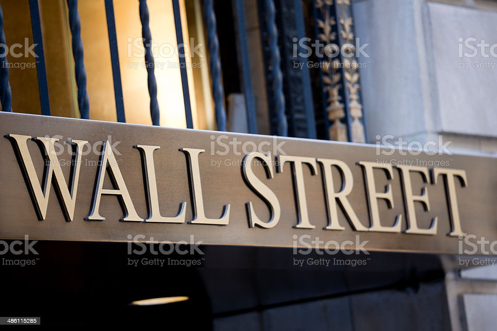Wall Street in downtown Mahattan New York City financial distric royalty-free stock photo