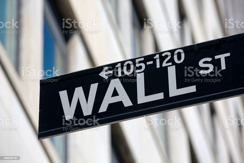 Wall Street in downtown Manhattan New York City financial district royalty-free stock photo
