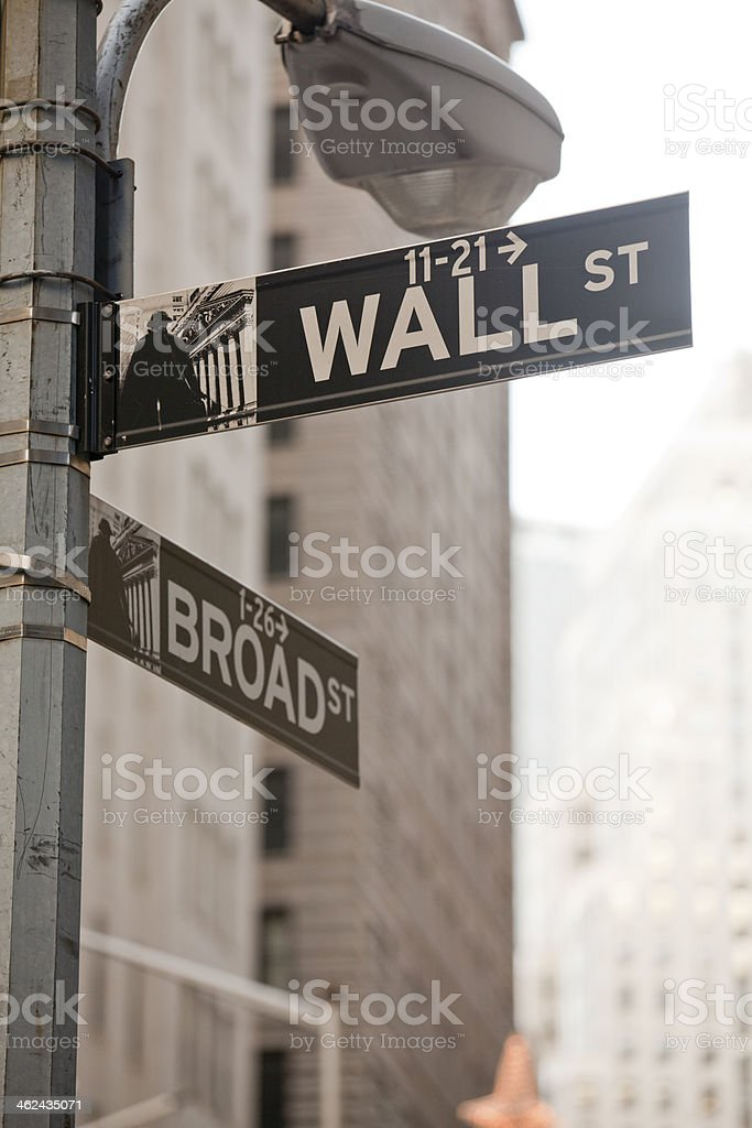 Wall Street in New York City royalty-free stock photo