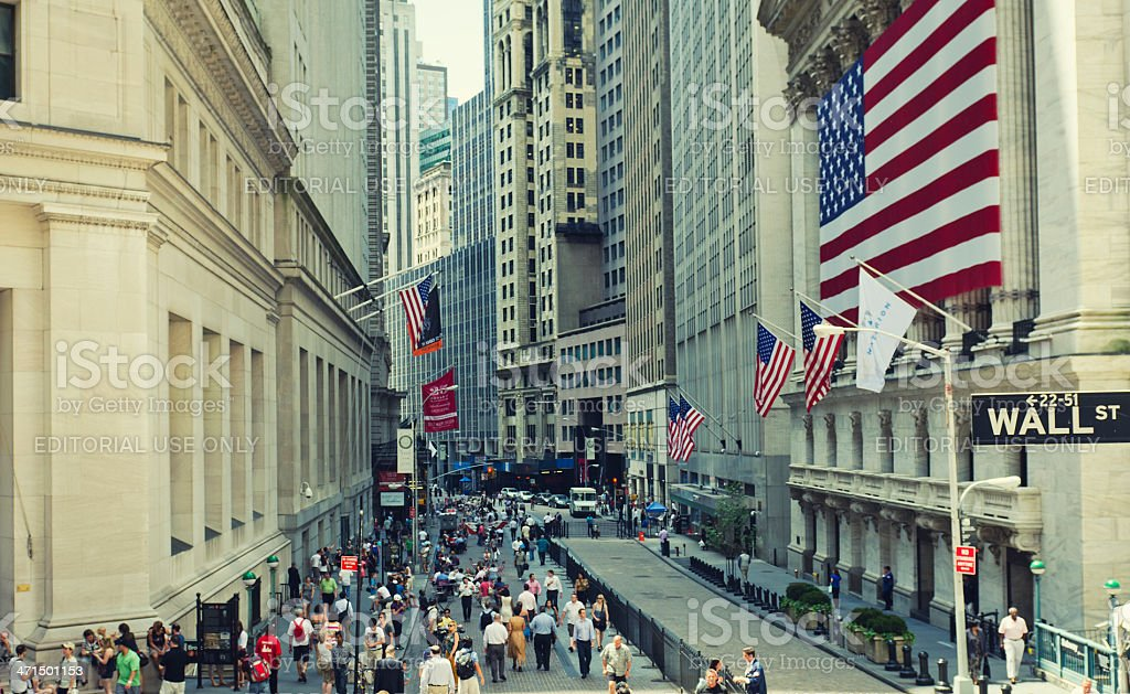 Wall Street in New York stock photo