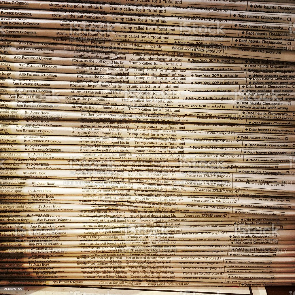 Wall Street Journal Newspapers at News Stand stock photo