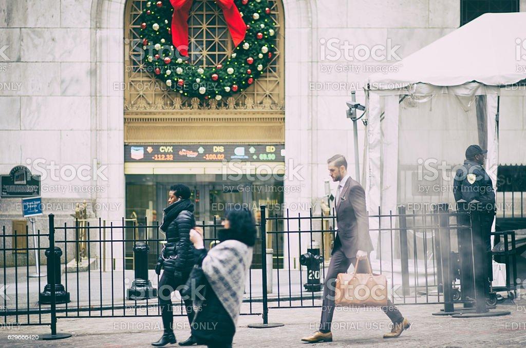 Wall Street New York City Holiday Scene stock photo