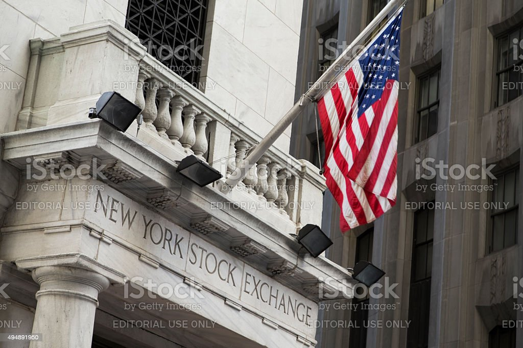 Wall Street New York Stock Exchange stock photo