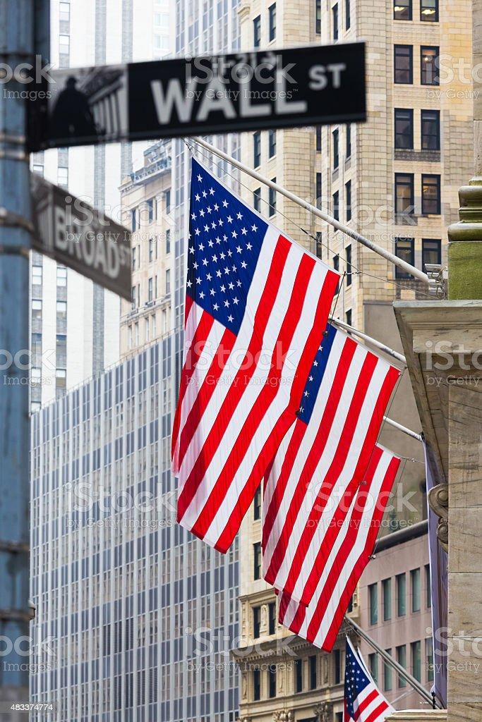 Die Wall street, New York, USA. Lizenzfreies stock-foto
