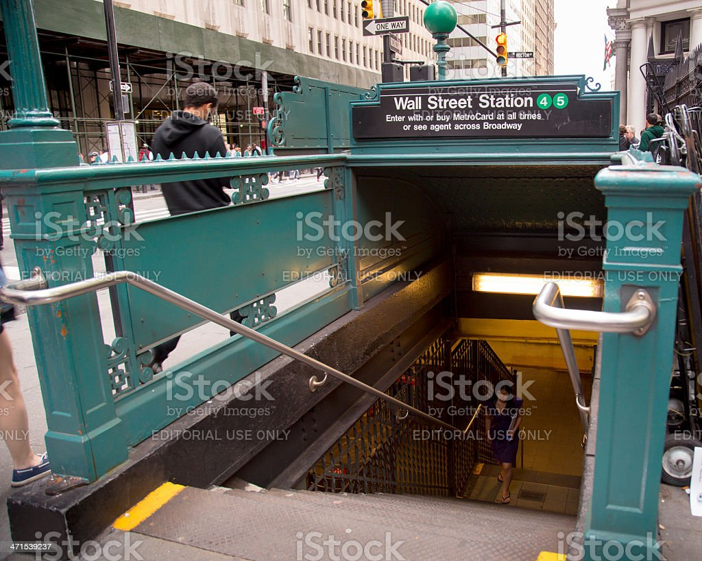 Wall Street NYC Subway royalty-free stock photo