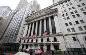 Wall Street on a rainy day, New York City, USA