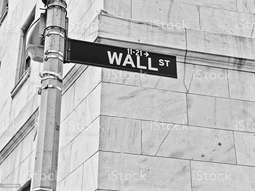 Wall Street road sign stock photo