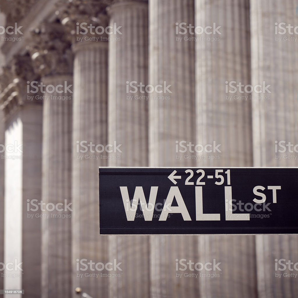 Wall street sign and columns royalty-free stock photo
