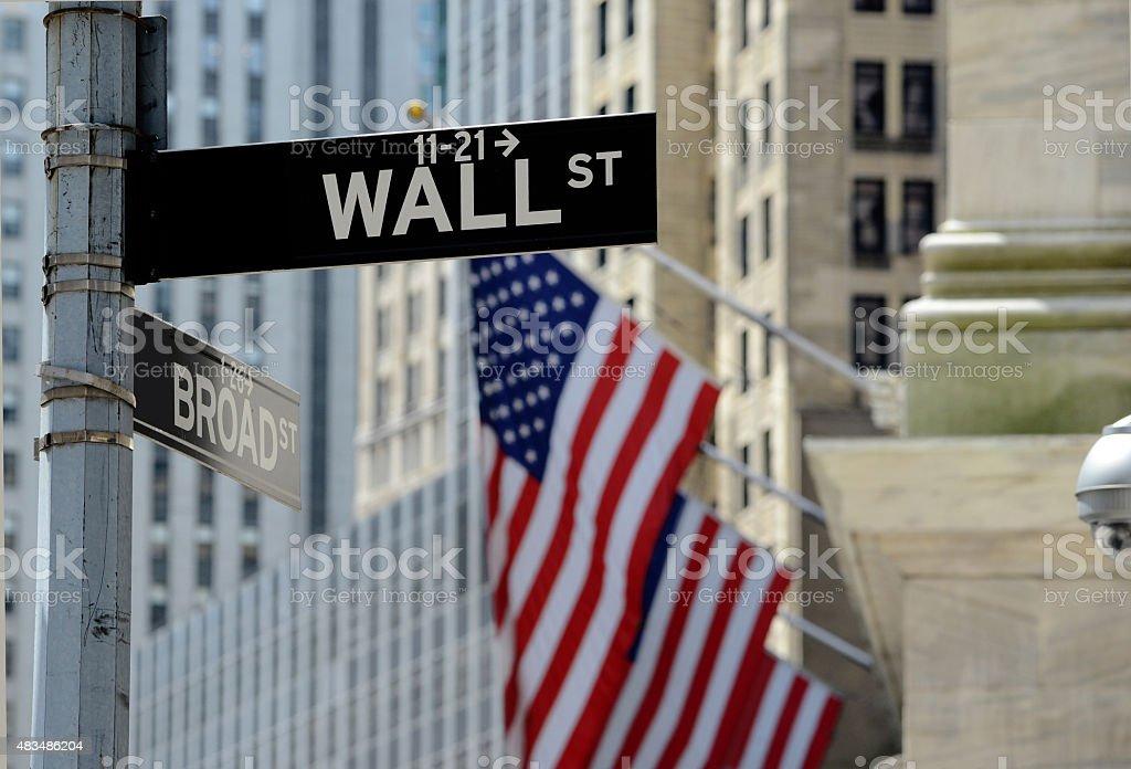 Wall Street sign, downtown Manhattan, New York City stock photo