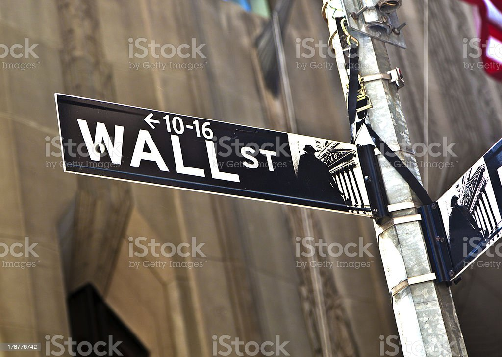 Wall Street sign in Manhattan New York royalty-free stock photo