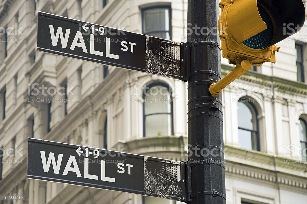 Wall street sign in New York city close-up view royalty-free stock photo