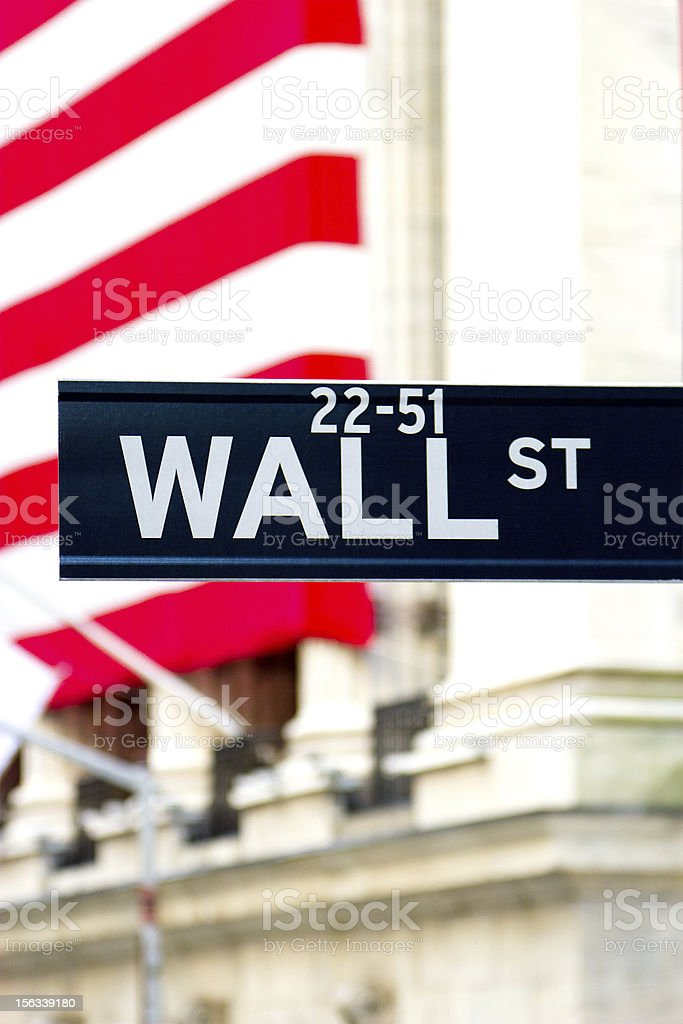 Wall Street Sign, New York royalty-free stock photo