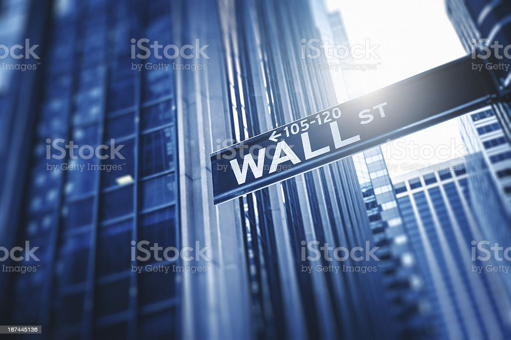 Wall street sign on manhattan stock photo